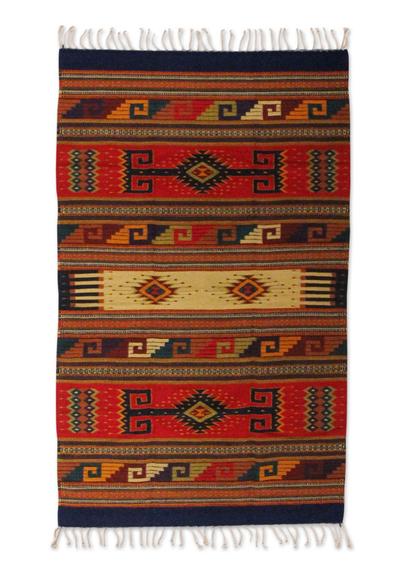 Zapotec wool rug, 'Dawn Stars' (4x6) - Zapotec wool rug (4x6)