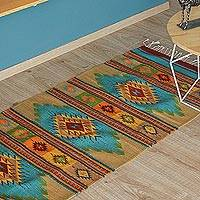 Zapotec wool runner, 'Valley Stars' (2.6x10) - Traditional Zapotec Rug