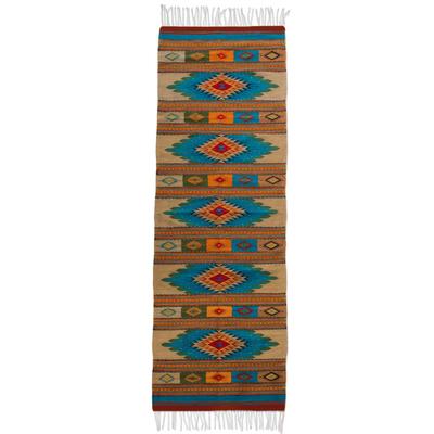 Zapotec wool runner, 'Valley Stars' (2.6x10) - Handmade Zapotec Wool Rug (2.6x10)