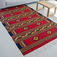 Zapotec wool rug, 'Sunset Stars' (5x8) - Hand Woven Zapotec Wool Area Rug (5x8)
