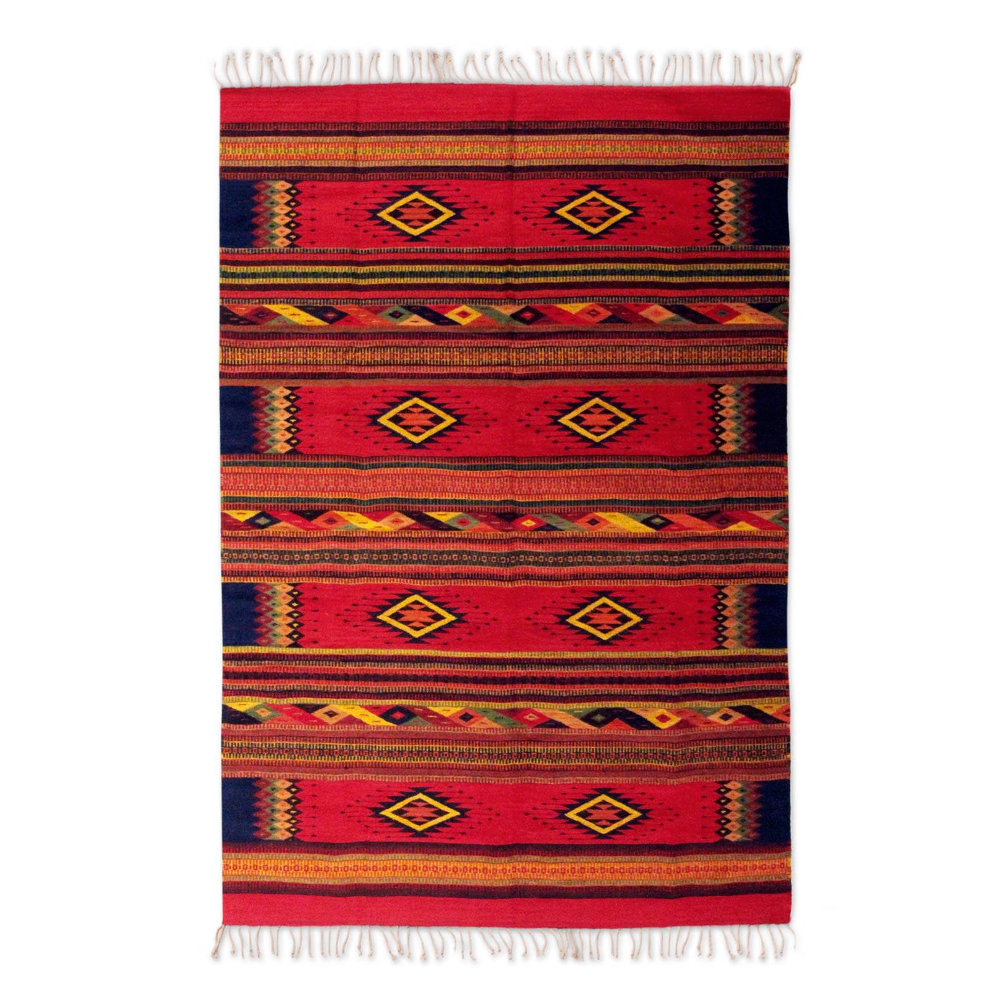 Unicef Uk Market Hand Woven Zapotec Wool Area Rug 5x8 Sunset Stars