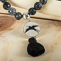 Beaded bracelet, 'Maya Freedom' - Fair Trade Mexican Silver and Agate Bird Bracelet