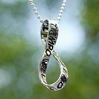 Sterling silver pendant necklace, 'The Time of No-Time'