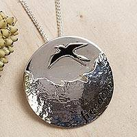 Sterling silver pendant necklace, 'Maya Freedom' - Sterling silver pendant necklace