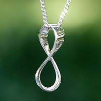 Sterling silver pendant necklace, 'Maya Infinity' - Handcrafted Taxco Silver Necklace with Infinity Pendant