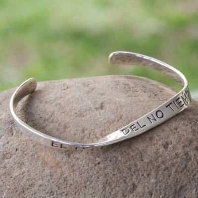 Sterling silver cuff bracelet, 'The Time of No-Time' - Inspirational Sterling Silver Cuff Bracelet