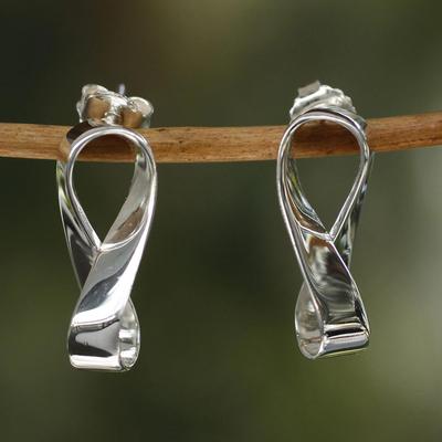 Sterling silver button earrings, 'Infinite Maya' - Inspirational Sterling Silver Button Earrings