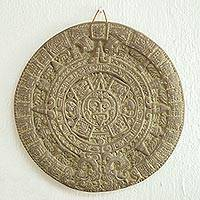 Ceramic plaque, 'Aztec Calendar in Grey' - Ceramic plaque