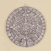 Ceramic plaque, 'Aztec Calendar in Beige' (large)