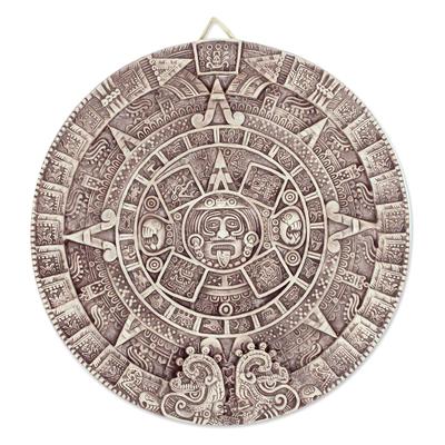 Ceramic Wall Plaque Museum Replica Handmade Mexico Aztec Calendar