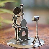 Auto part sculpture, 'Rustic Cellist' - Recycled Car Part Cellist Sculpture