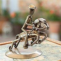 Auto part sculpture, 'Rustic Jockey' - Recycled Car Part Horse Sculpture