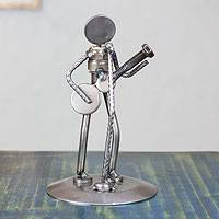 Auto part sculpture, 'Rustic Folk Singer' - Upcycled Metal Sculpture from Mexico