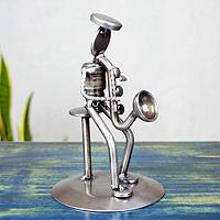 Auto part sculpture, 'Rustic Saxophonist' - Upcycled Car Parts Sculpture