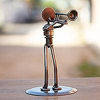 Auto part sculpture, 'Rustic Jazz Trombone' - Auto part sculpture