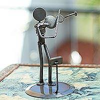 Auto part sculpture, 'Rustic Violinist' - Upcycled Aluminum Sculpture from Mexico