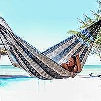 Cotton hammock, 'Midnight Riviera' (double) - Handcrafted Black and Beige Mayan Double Hammock