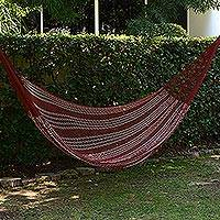 Cotton hammock, 'Burgundy Riviera' (double) - Double Mayan Rope Style Cotton Hammock Mexico