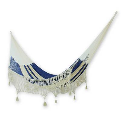 Cotton hammock, 'Riviera Romance' (double) - Blue and Natural Double Rope Style Cotton Hammock Mexico