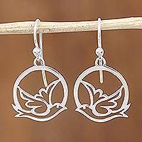 Featured review for Sterling silver dangle earrings, Gentle Dove