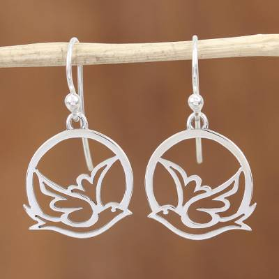 Sterling silver dangle earrings, 'Gentle Dove' - Mexican Taxco Silver Sterling Bird Earrings