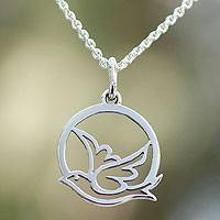 Sterling silver pendant necklace, 'Gentle Dove' - Hand Crafted Peace and Calm Sterling Silver Bird Necklace