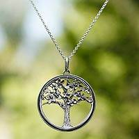 Sterling silver pendant necklace, 'Joyous Jacaranda' - Unique Mexican Sterling Silver Tree Necklace