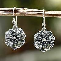 Sterling silver flower earrings, 'Mexican Azalea' - Taxco Silver Earrings