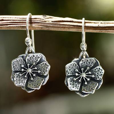 Sterling silver flower earrings, 'Mexican Azalea' - Collectible Taxco Silver Floral Earrings