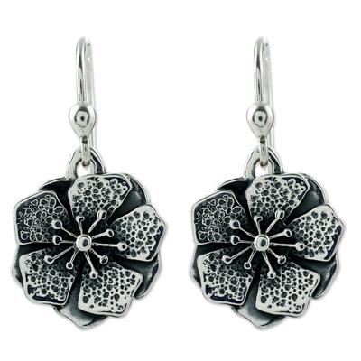 Sterling silver flower earrings, 'Mexican Azalea' - Collectible Taxco Silver Floral Earrings
