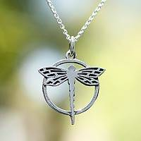 Sterling silver pendant necklace, 'Tropical Dragonfly'