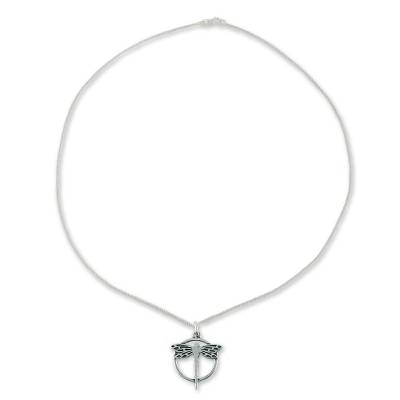 Sterling silver pendant necklace, 'Tropical Dragonfly' - Fair Trade Women's Taxco Silver Pendant Necklace