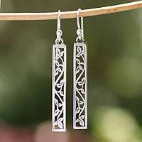 Sterling silver dangle earrings, 'Cascade' - Sterling silver dangle earrings
