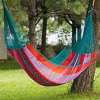 Hammock, 'Maya Celebration' (double) - Mexican Green and Orange Rope Hammock (Double)