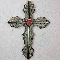 Steel wall art, 'Jesus Sacred Heart on Fire with Divine Love' - Hand Made Cross Green Religious Steel Wall Sculpture Mexico