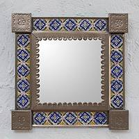 Tin and ceramic wall mirror, 'Mexican Bluebells' (small) - Small Collectible Colonial Tin Ceramic Mirror
