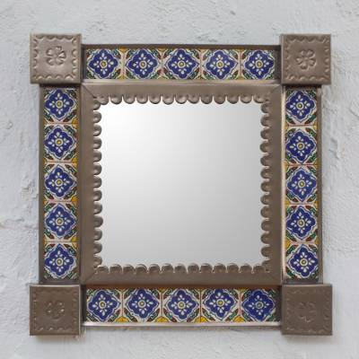 Tin and ceramic wall mirror, Mexican Bluebells (small)