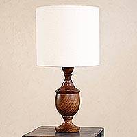 Parota wood table lamp, 'Hacienda Light' - Handcrafted Parota Table Lamp