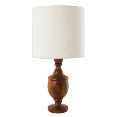 Parota wood table lamp, 'Hacienda Light' - Parota Wood Table Lamp with Jute Lampshade