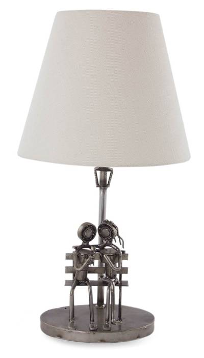 Recycled metal table lamp, 'A Rose of Love' - Romantic Recycled Steel Table Lamp