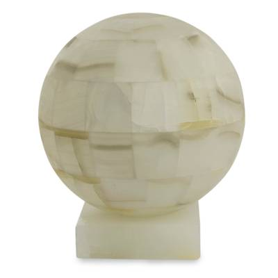 Onyx Lamp, U0027Puebla Moonu0027   Mexican White Onyx Globe Shaped Table Lamp