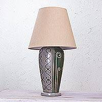 Ceramic table lamp, 'Jalisco Light' - Ceramic Table Lamp with Neutral Jute Lampshade