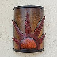 Iron wall lamp, 'Fiery Sunrise'