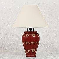 Ceramic table lamp, 'Pomegranate Blooms' - Hand Crafted Red Floral Mexican Ceramic Table Lamp