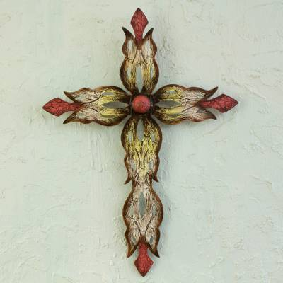 Steel wall cross, 'Mission Cross Red' - Steel Cross Hand Crafted Wall Art from Mexico