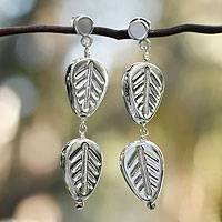 Sterling silver dangle earrings, 'Whispering Leaves' - Sterling silver dangle earrings