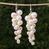 Cultured pearl cluster earrings, 'Glorious Racemes' - Handcrafted Clustered Pearl Earrings