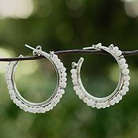 Cultured pearl half hoop earrings, 'Mystical Moonbeams'