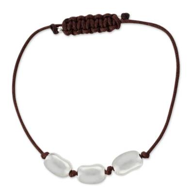 Men's sterling silver and leather bracelet, 'Brown Seed of Life' - Men's sterling silver and leather bracelet