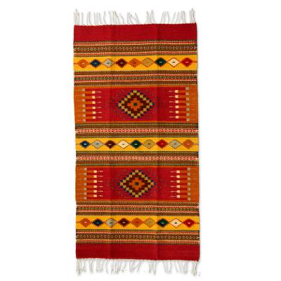 Zapotec wool rug, 'Red Mexican Chrysanthemum' (2.5x5) - Handcrafted Zapotec Wool Accent Area Rug (2.5x5)